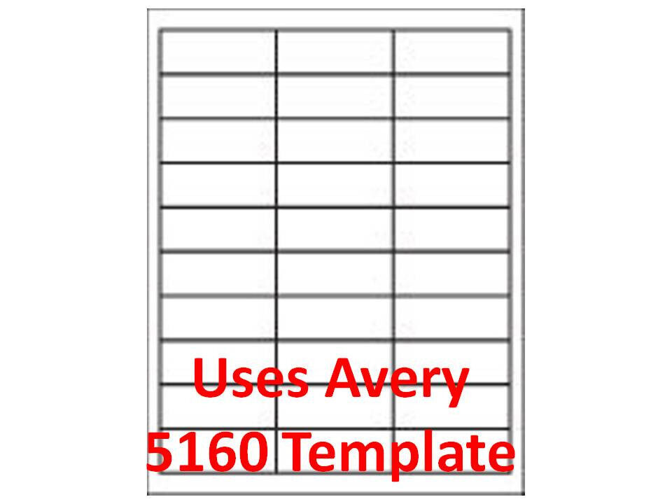 Custom Card Template avery.com templates 5160 : 30 Up Template Laser/ Inkjet Labels 3,000 1u0026quot; x 2 5/8 ...