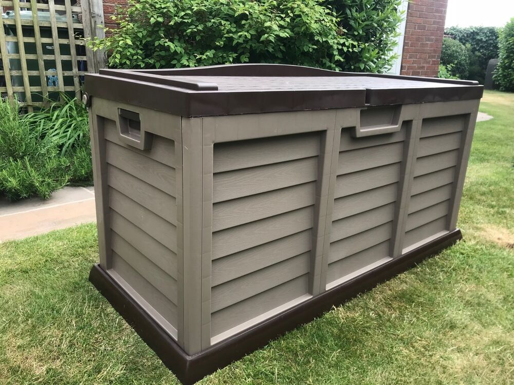 xl size huge garden storage box chest shed waterproof brown with sit