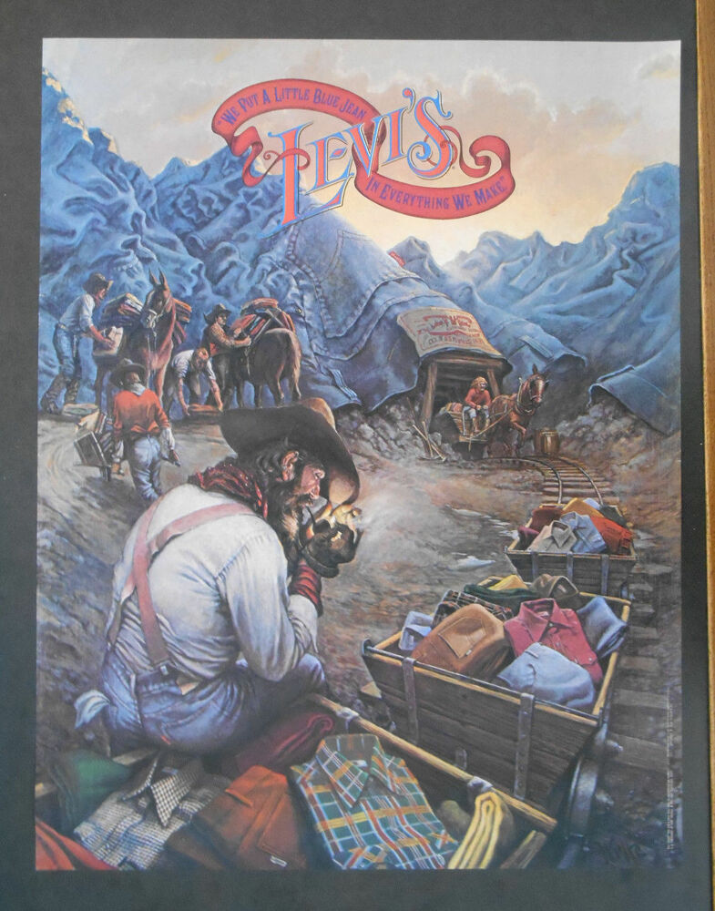 VINTAGE 1970S LEVI'S ADVERTISING POSTER WITH MOUNTAINS AND ...