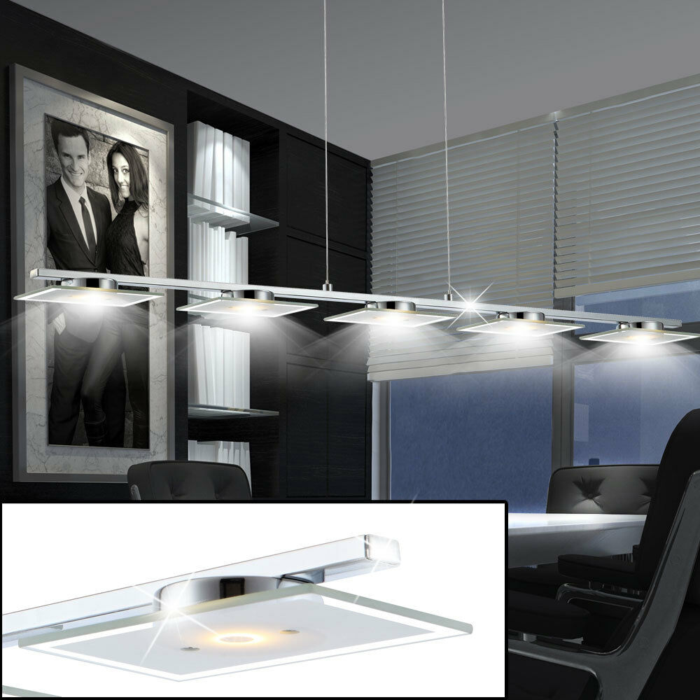 led 25 watt design decken pendel leuchte h nge lampe esstisch beleuchtung glas ebay. Black Bedroom Furniture Sets. Home Design Ideas