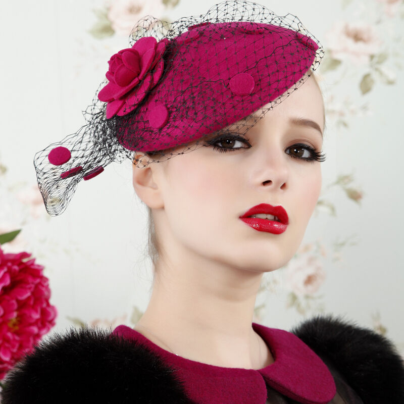 womens vintage fascinator wool hair pillbox hat veil