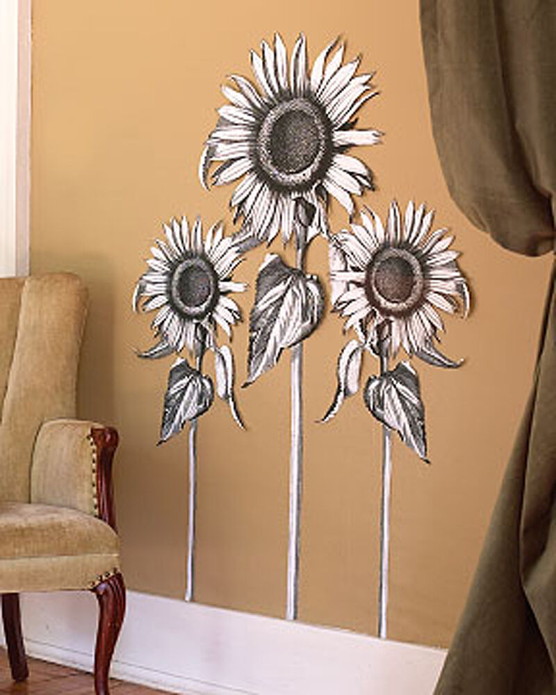 Sunflowers sun flower wall murals black white floral decor for Black wall mural