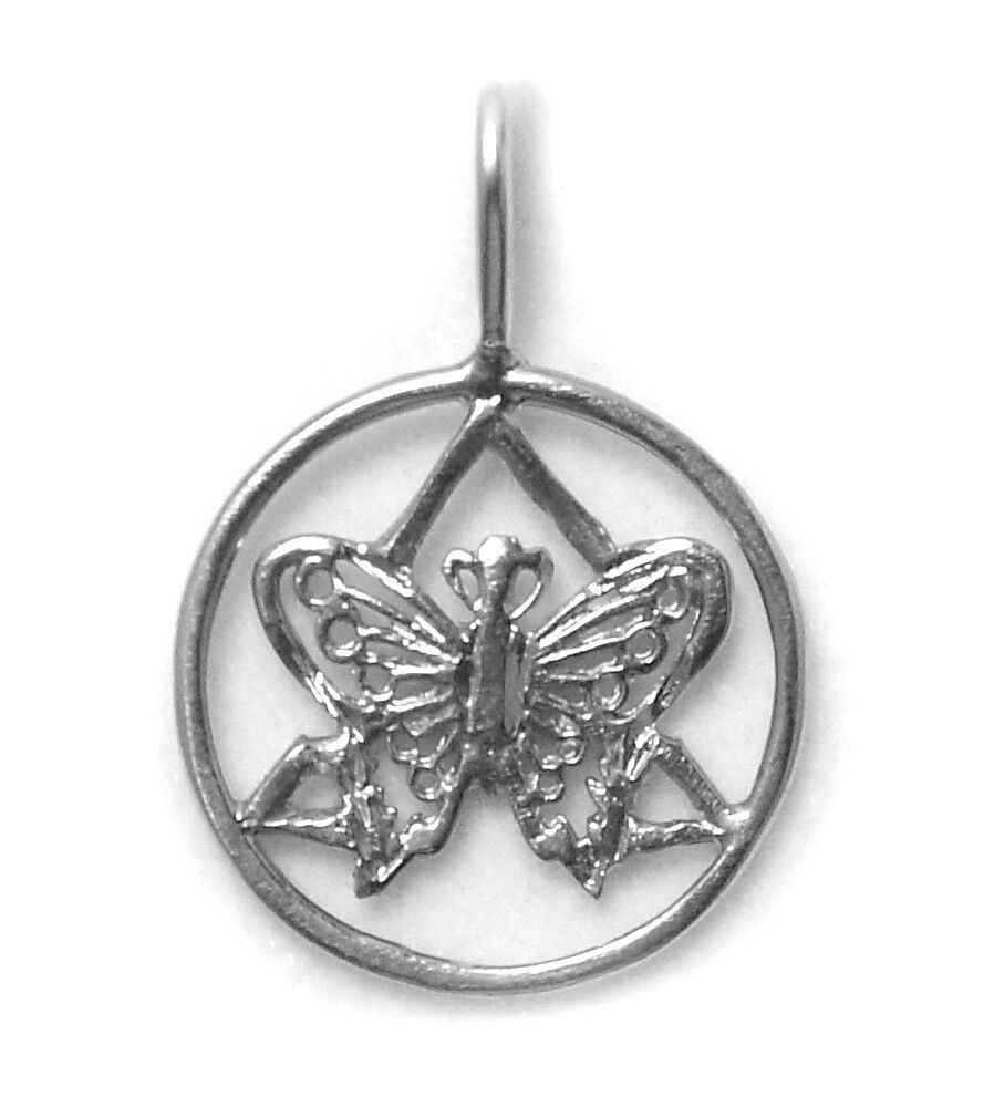 aa alcoholics anonymous symbol butterfly pendant sterling