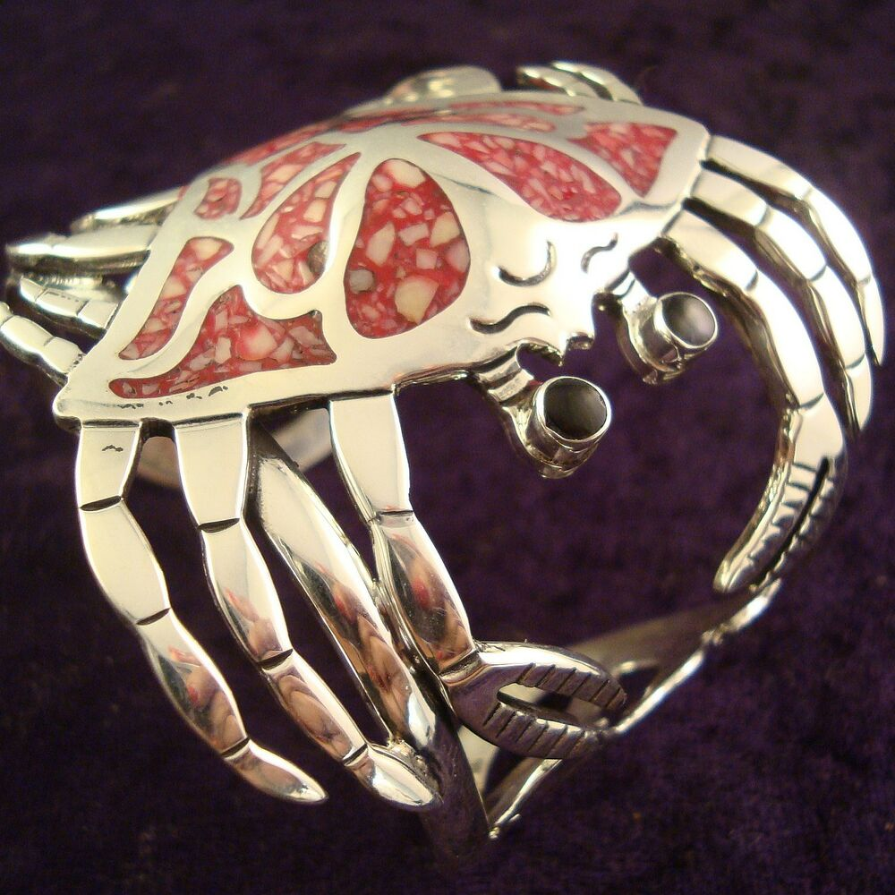 Taxco mexican sterling silver red coral crab cuff bracelet mexico