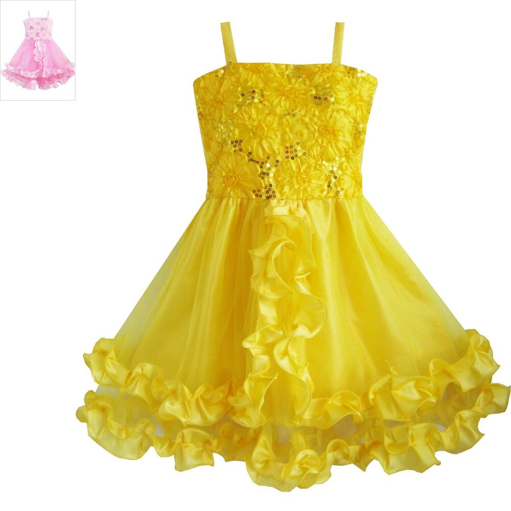 Details about Pageant Flower Girl Dress Wedding Party Yellow Shinning  Sequins Size 4-10 Formal 759b7863bcf9
