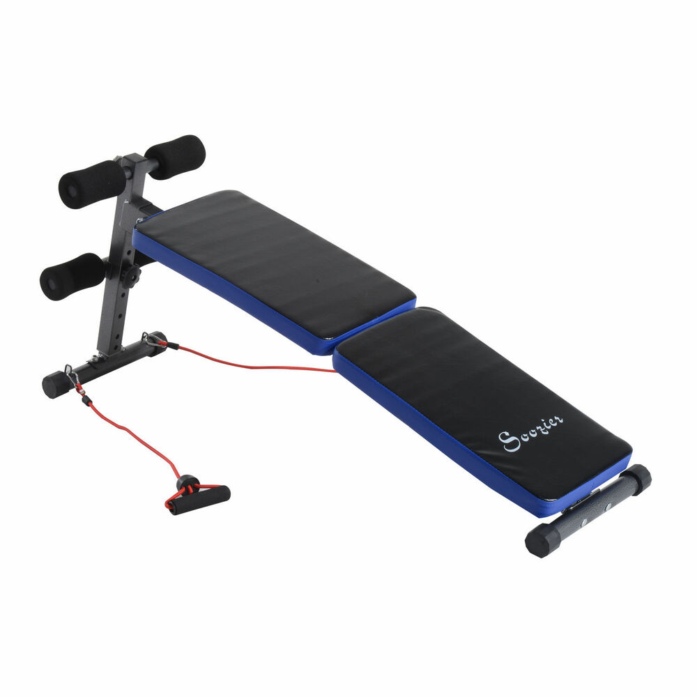 Folding Adjustable Sit Up Weight Bench Ab Decline Fitness W Resistance Bands Ebay