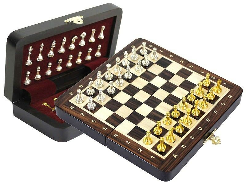 rosewood travel magnetic chess set 9 quot folding metal