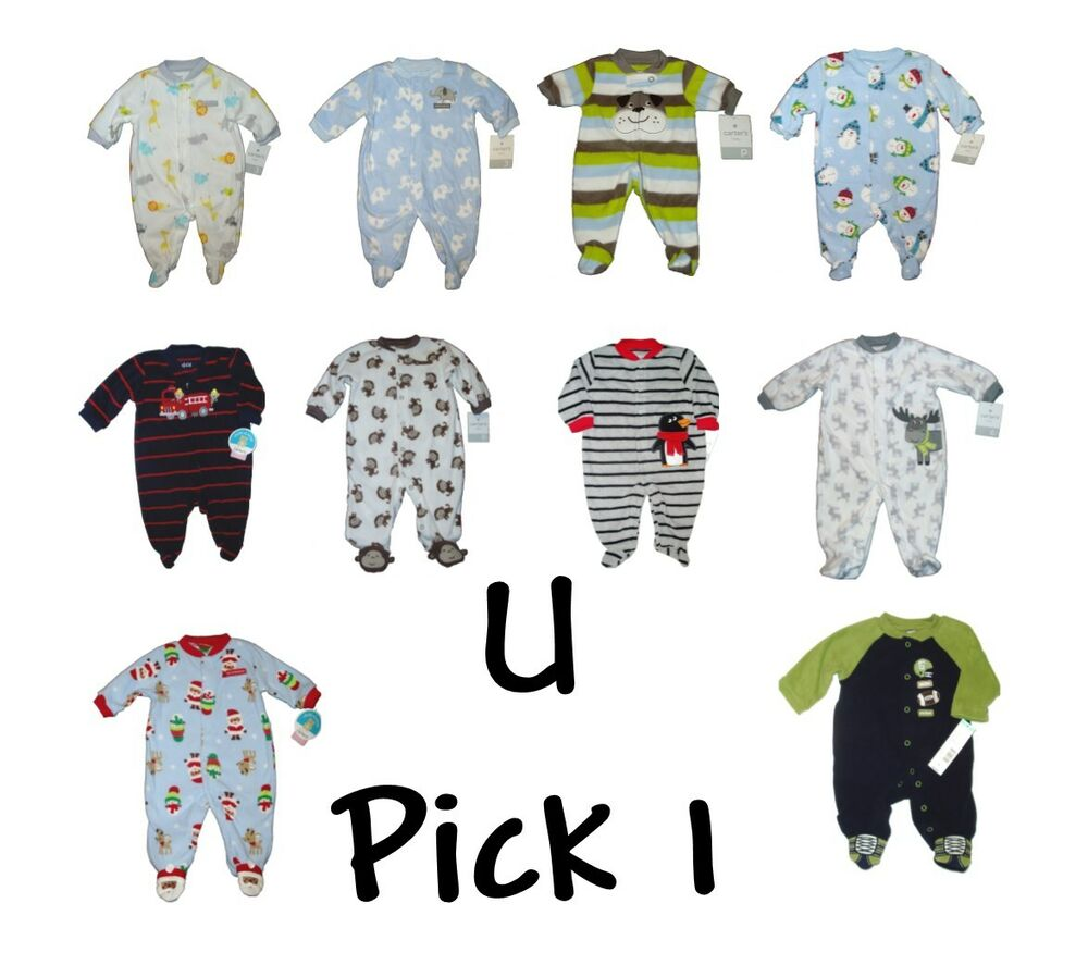 Baby boys carters fleece sleep play outfit closed in feet footed