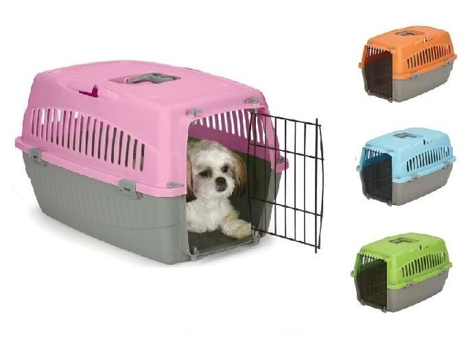 Small Dog Cat Pet Travel Crate Lightweight Pet Carrier Plastic Amp Wire Kennel Cab Ebay