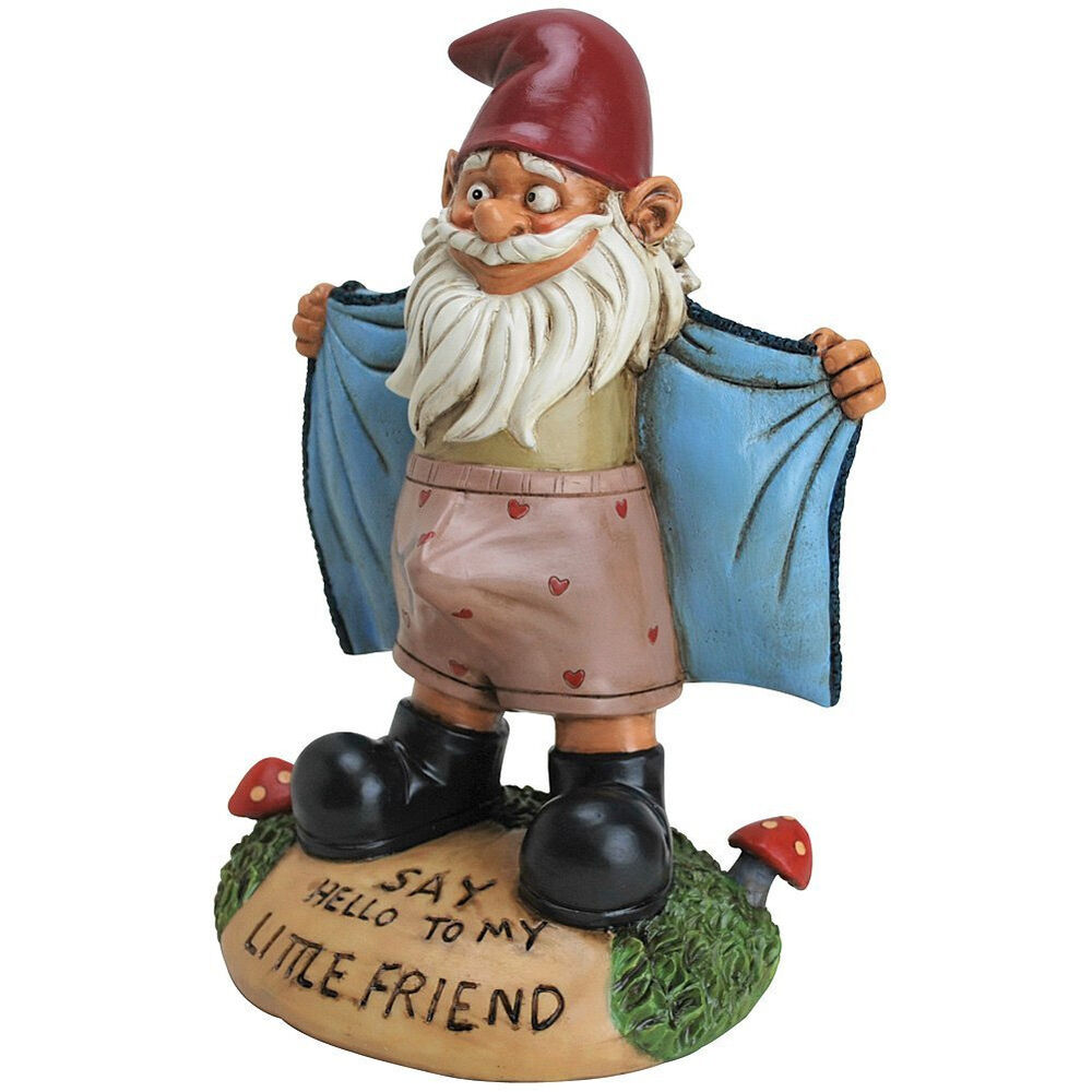Perverted garden gnome flasher funny novelty say hello for Objet decoration jardin