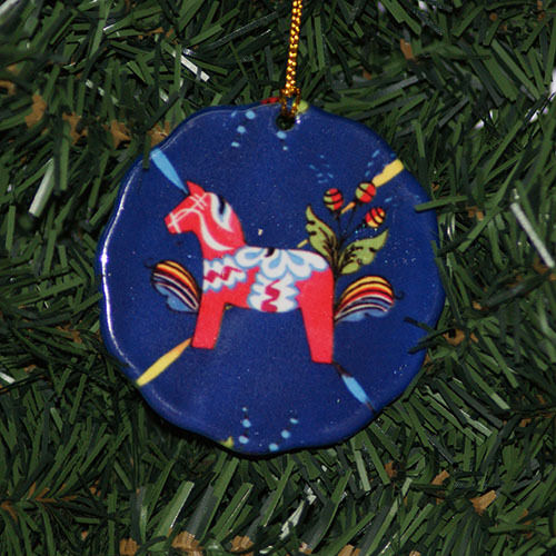 Christmas Tree Sweden: Scandinavian Swedish Dala Horse Christmas Ceramic Ornament
