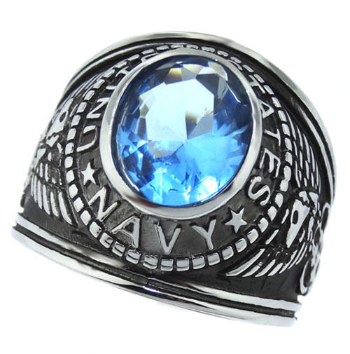 Light Sapphire Blue Stone Navy US Military Silver ... Silver Rings For Men With Blue Stone