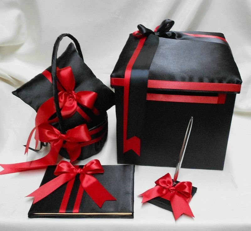 Black Wedding Gift Card Box : ... Black Red Flower Girl Basket Ring Pillow Guest Book Pen Gift Card Box