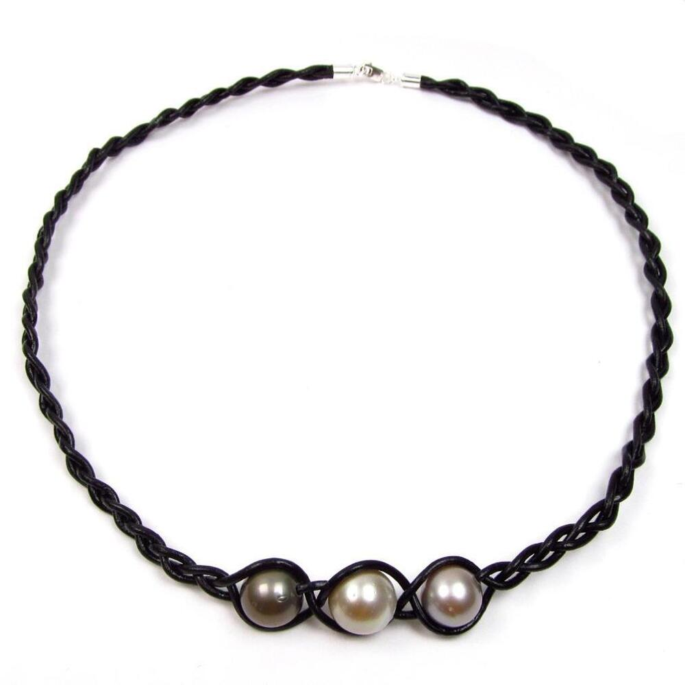 "Tahitian Pearl And Leather Necklace: 17.5"" 11-12mm Multi Color Tahitian Pearl Braided Leather"