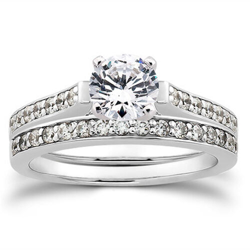 1 2ct diamond engagement matching wedding 14k ring set ebay for Ebay diamond wedding ring sets