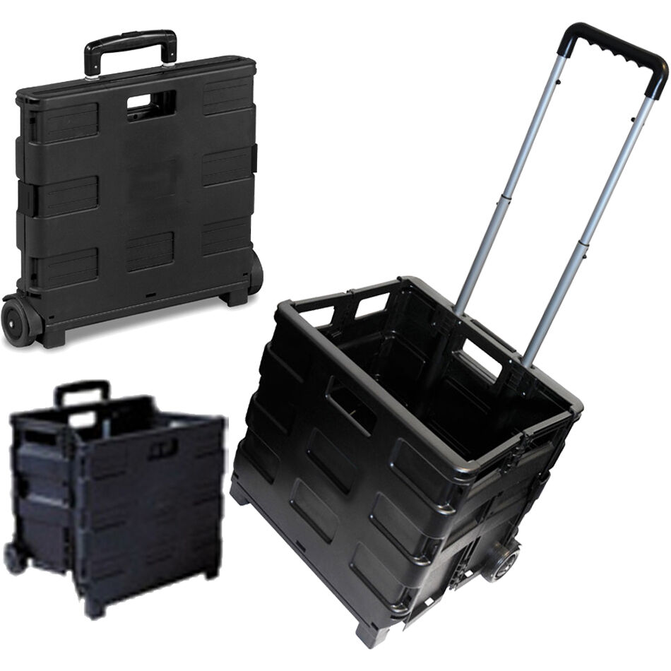 25kg Folding Shopping Trolley Storage Boot Cart Box Crate