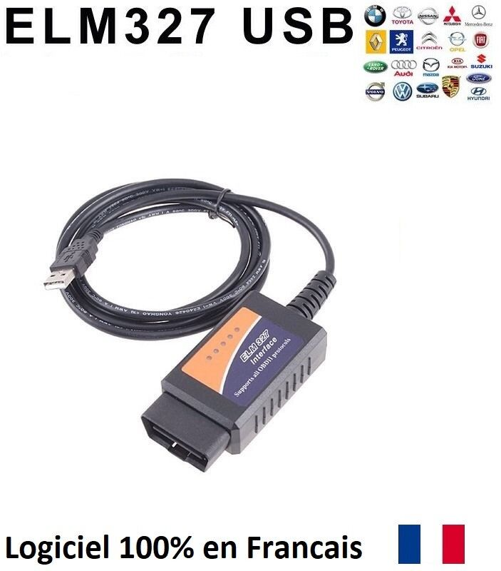 interface diagnostique diagnostic elm 327 obd2 obdii avec c logiciels cable usb ebay. Black Bedroom Furniture Sets. Home Design Ideas