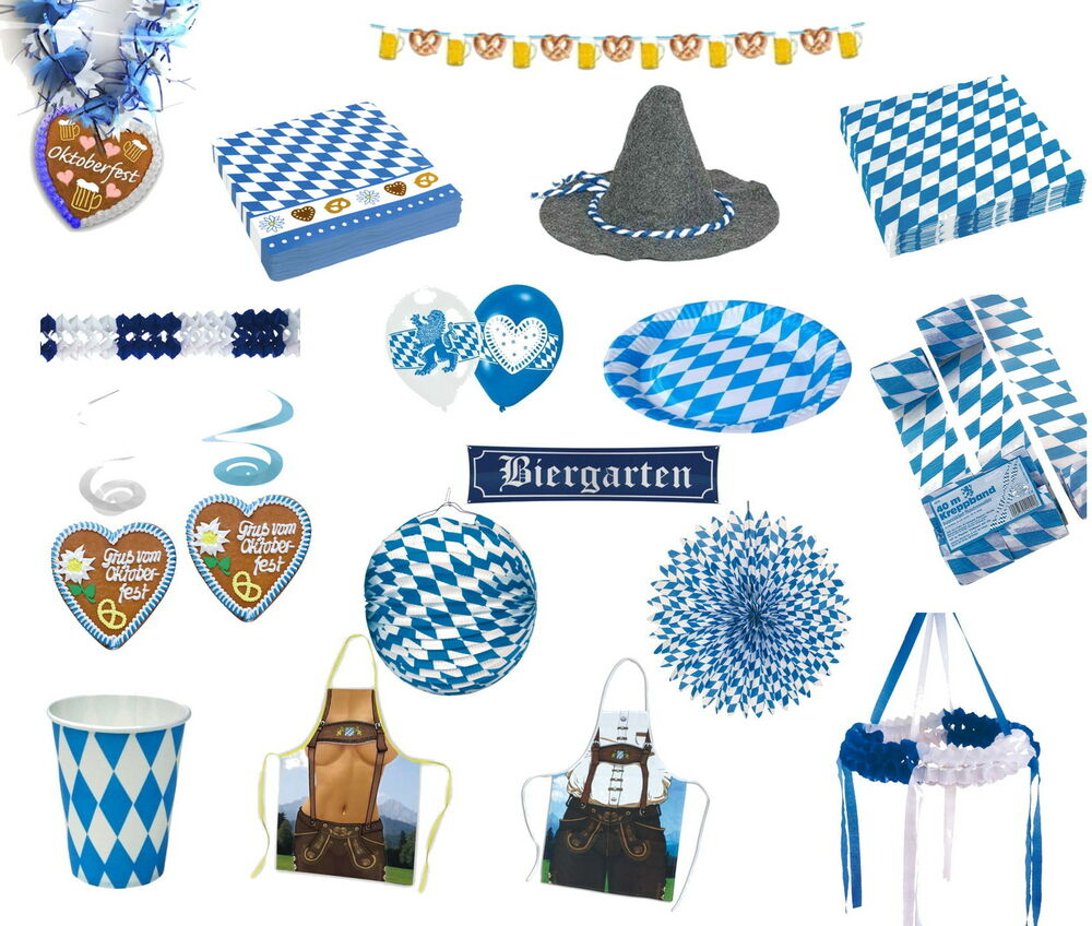 oktoberfest deko bayern party blau wei motto. Black Bedroom Furniture Sets. Home Design Ideas