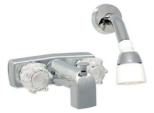 mobile home 2 handle 4 brass tub shower faucet w head arm chrome 4812 ebay. Black Bedroom Furniture Sets. Home Design Ideas