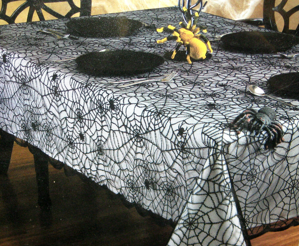 Spider Web Black Lace Table Cloth Fabric Tablecloth