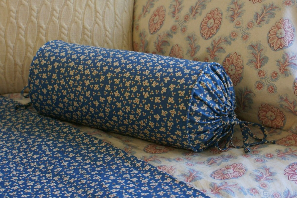 Decorative Bed Roll Pillows : NEW Custom Chaps Montauk Blue Floral Neck Roll Pillow Neckroll Bolster eBay
