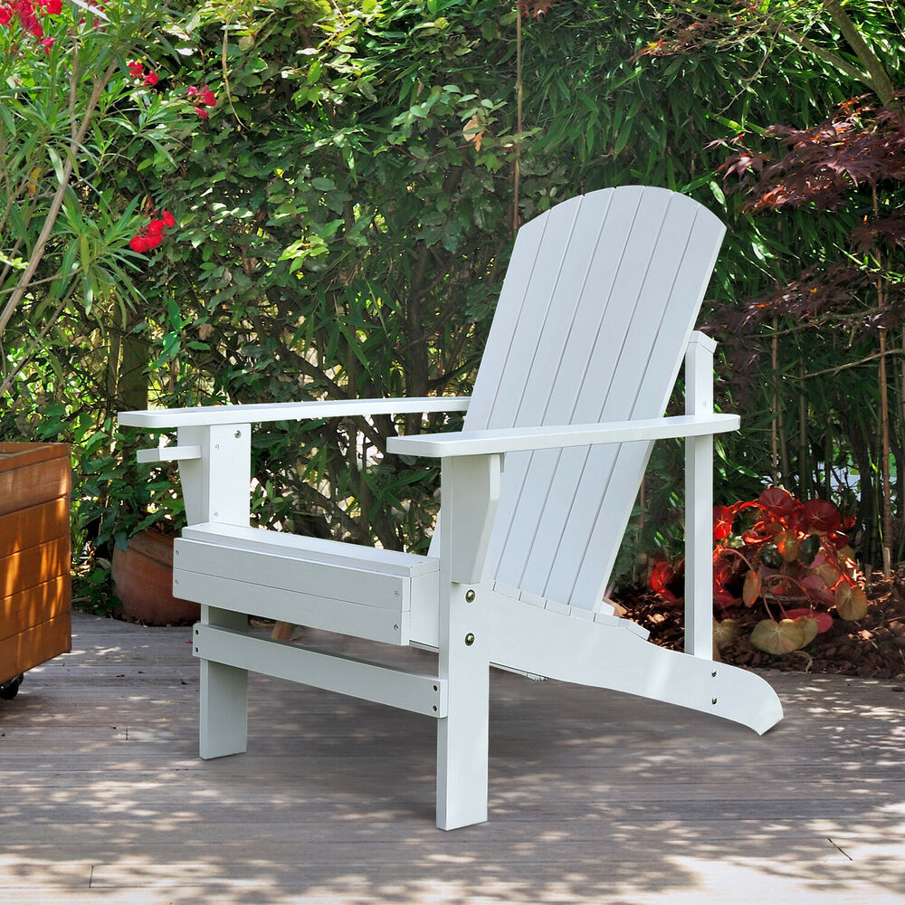 Outdoor wood adirondack chair patio chaise lounge deck for Chaise de plage