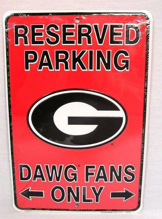 Uga Man Cave Signs : Reserved parking georgia dawg fans only aluminum metal