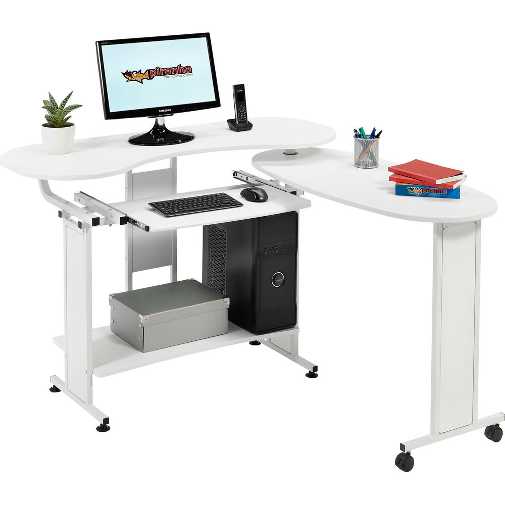 Compact folding computer desk w shelf home office for Home office workstation desk