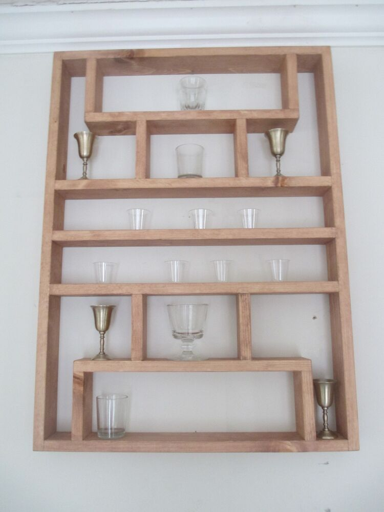 Shot glass collectibles wall display shelf 6 x large for How to make display shelves