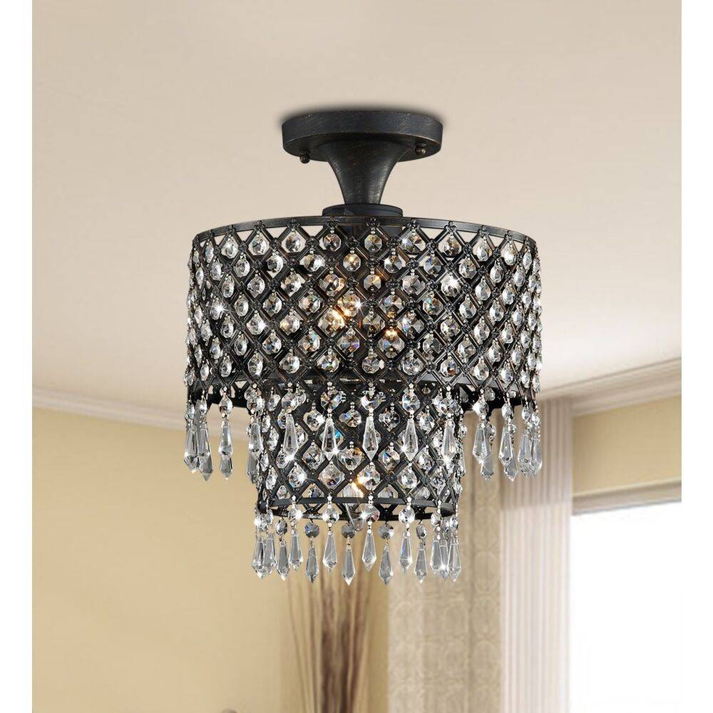 Flush Ceiling Chandeliers: Melinda 3-light Antique Bronze/ Crystal Flush-mount