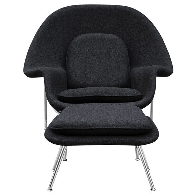 wool womb chair and ottoman ebay. Black Bedroom Furniture Sets. Home Design Ideas