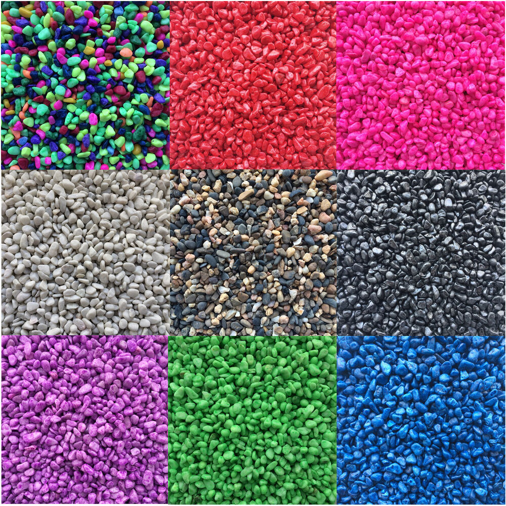 Aquarium fish tank gravel stones substrate coloured and for Fish bowl rocks