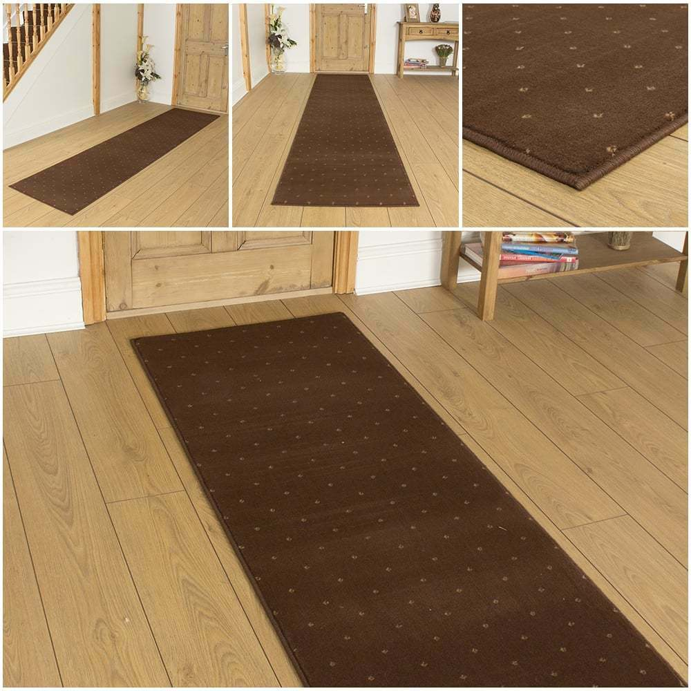Dotty Brown Hallway Carpet Runner Rug Mat For Hall Extra