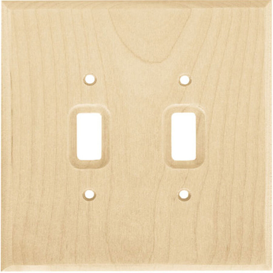 Unfinished Wood Stainable Double Light Switch Wallplate