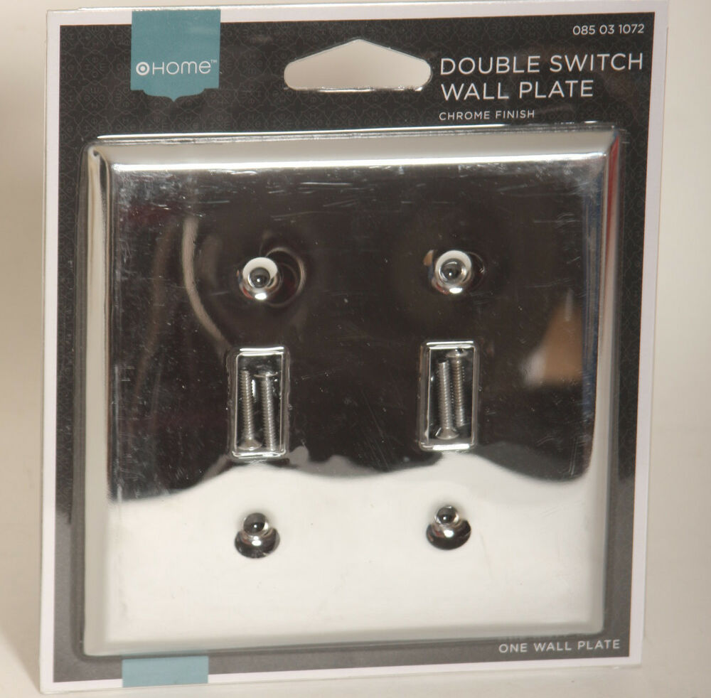 Wall Plate Light Cover : Double Light Switch Wallplate Wall Plate Outlet Cover Polished Chrome Finish eBay