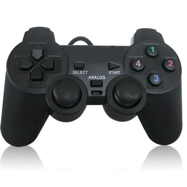 Black USB Dual Vibration PC Computer Wired Gamepad Game ...