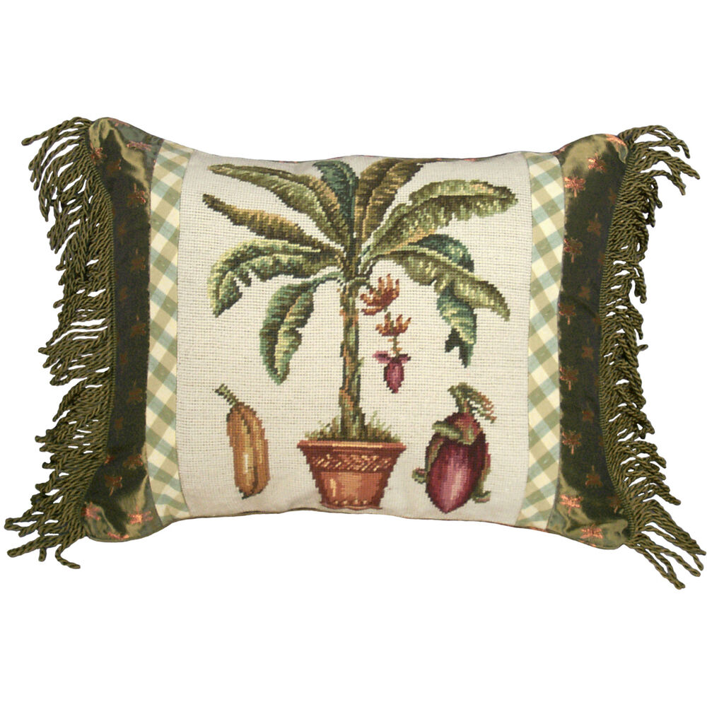 Decorative Tapestry Throw Pillows : Banana Tree Needlepoint Decorative Throw Pillow eBay