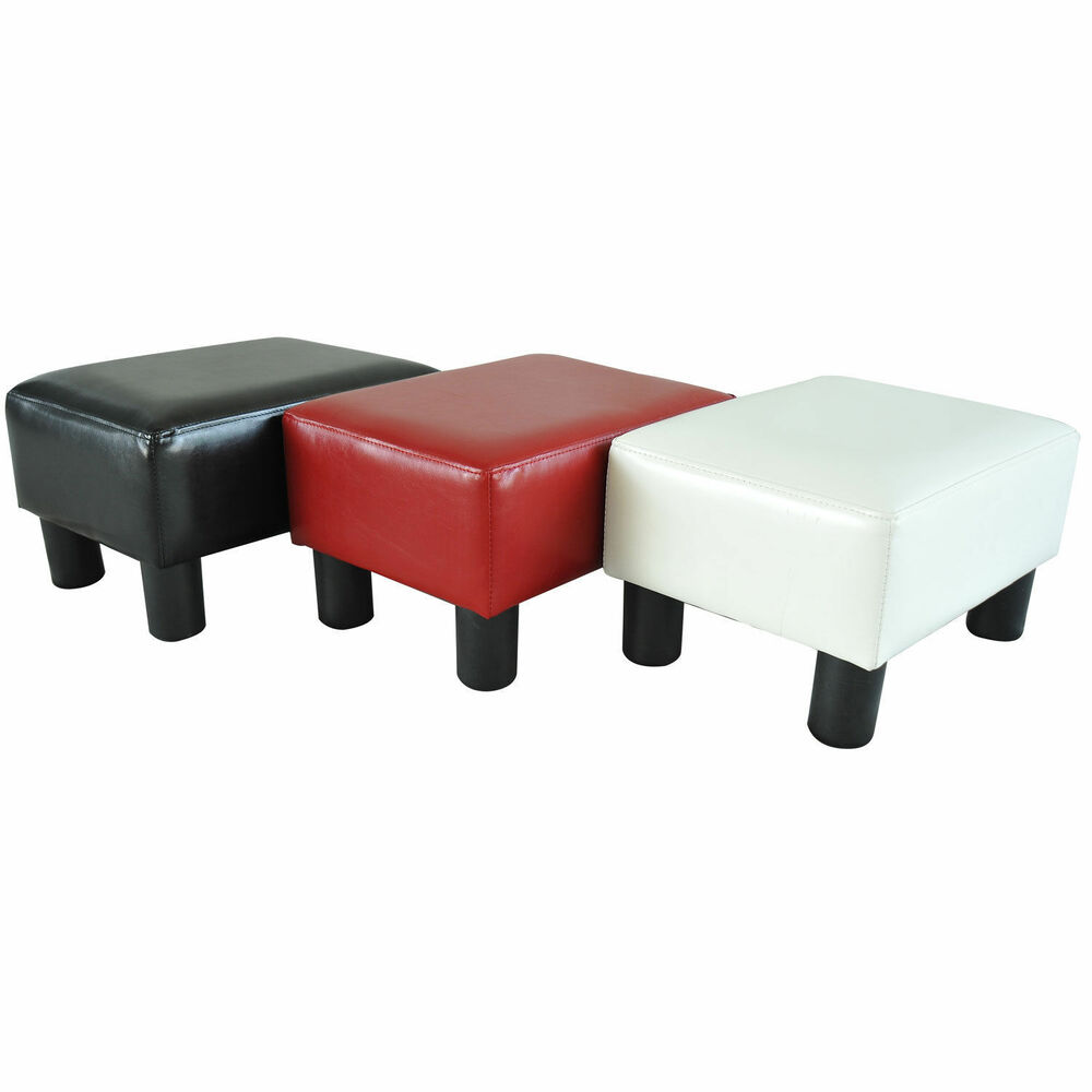 Modern faux leather ottoman footrest stool foot rest small for Small modern chair