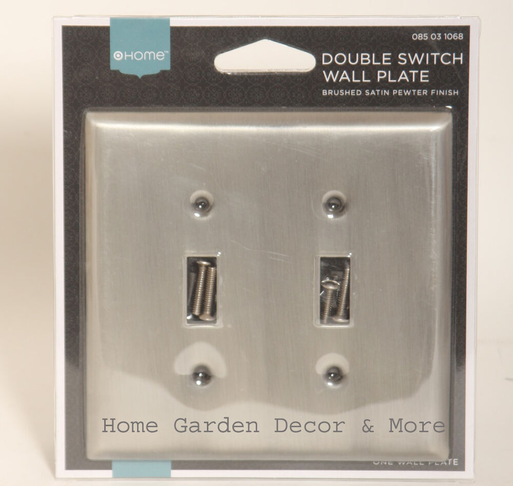 Light Switch Plate Cover: Brushed Satin Pewter Double Light Switch Wallplate Wall