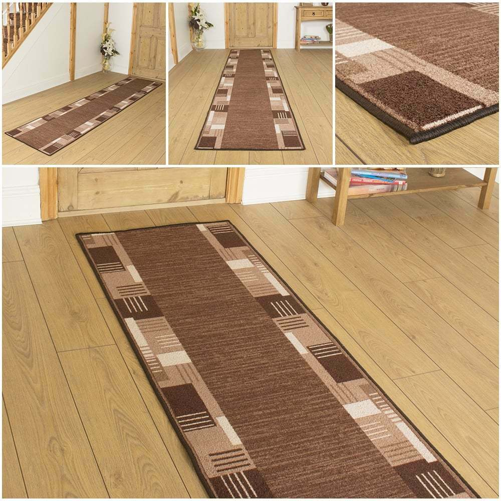 montana dark brown hallway carpet runner rug mat hall anti non slip gel back ebay. Black Bedroom Furniture Sets. Home Design Ideas