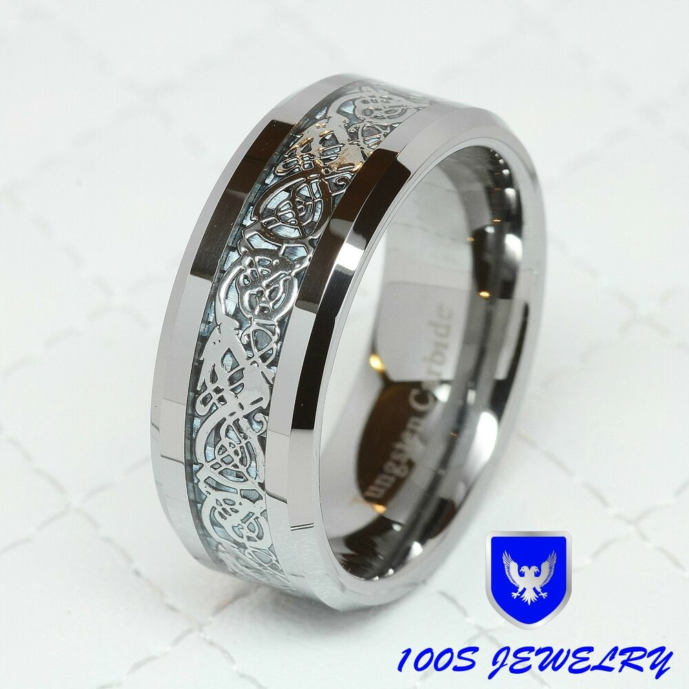silver celtic dragon inlay mens ring wedding band size 8 14 ebay