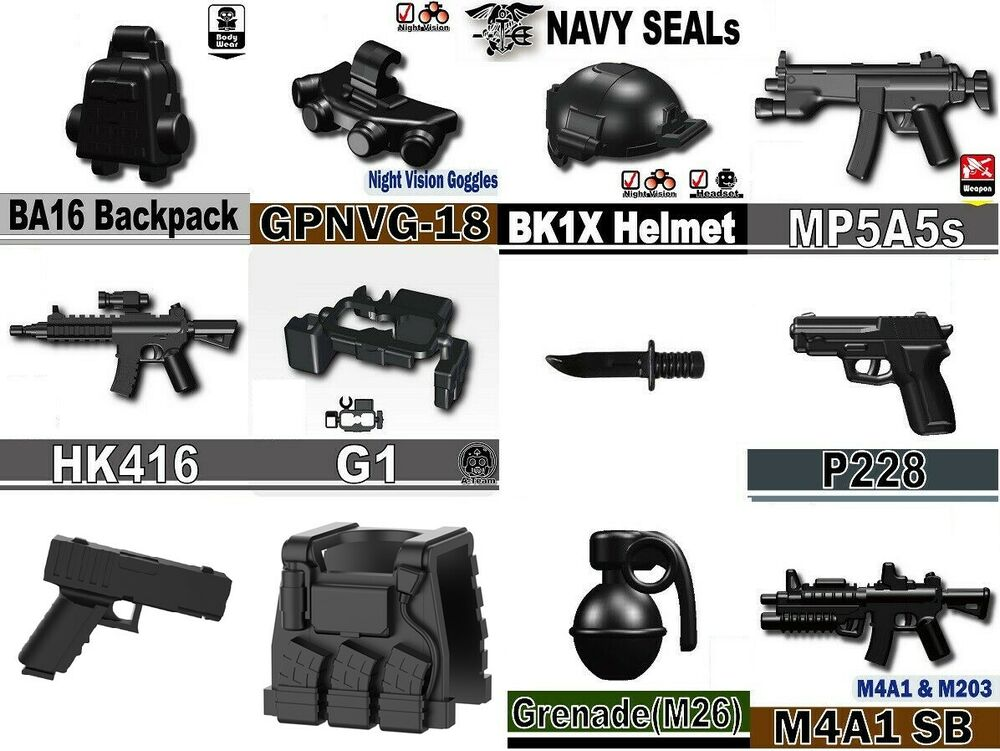 Navy Seal Weapons pack (SKUP4) compatible with toy brick ...