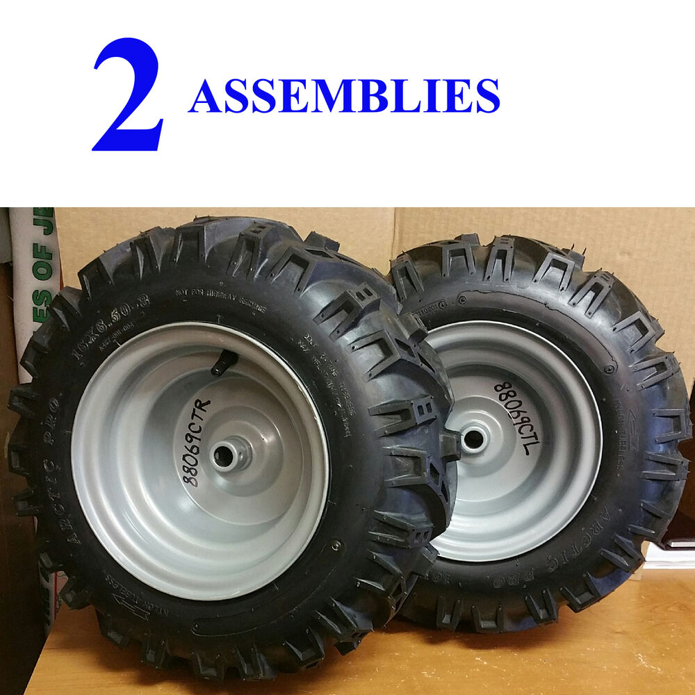 Two 16x6 50 8 16 650 8 Tire Rim Wheel Assemblies Snow