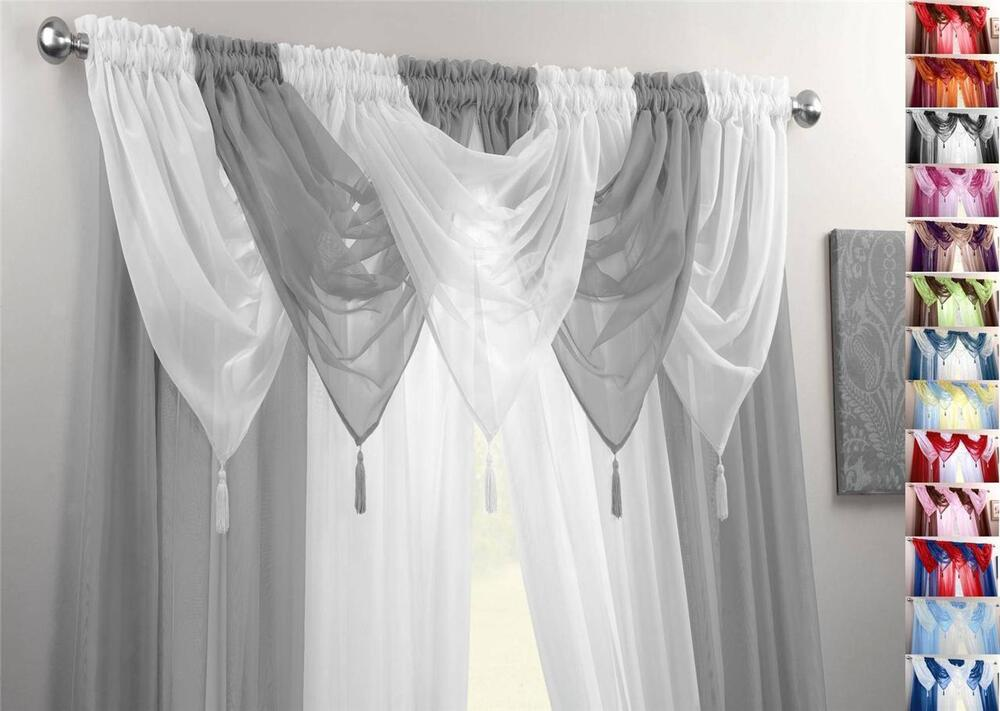 Silver Amp White Voile Swags Amp Curtain Panels 9 Peice Set 54
