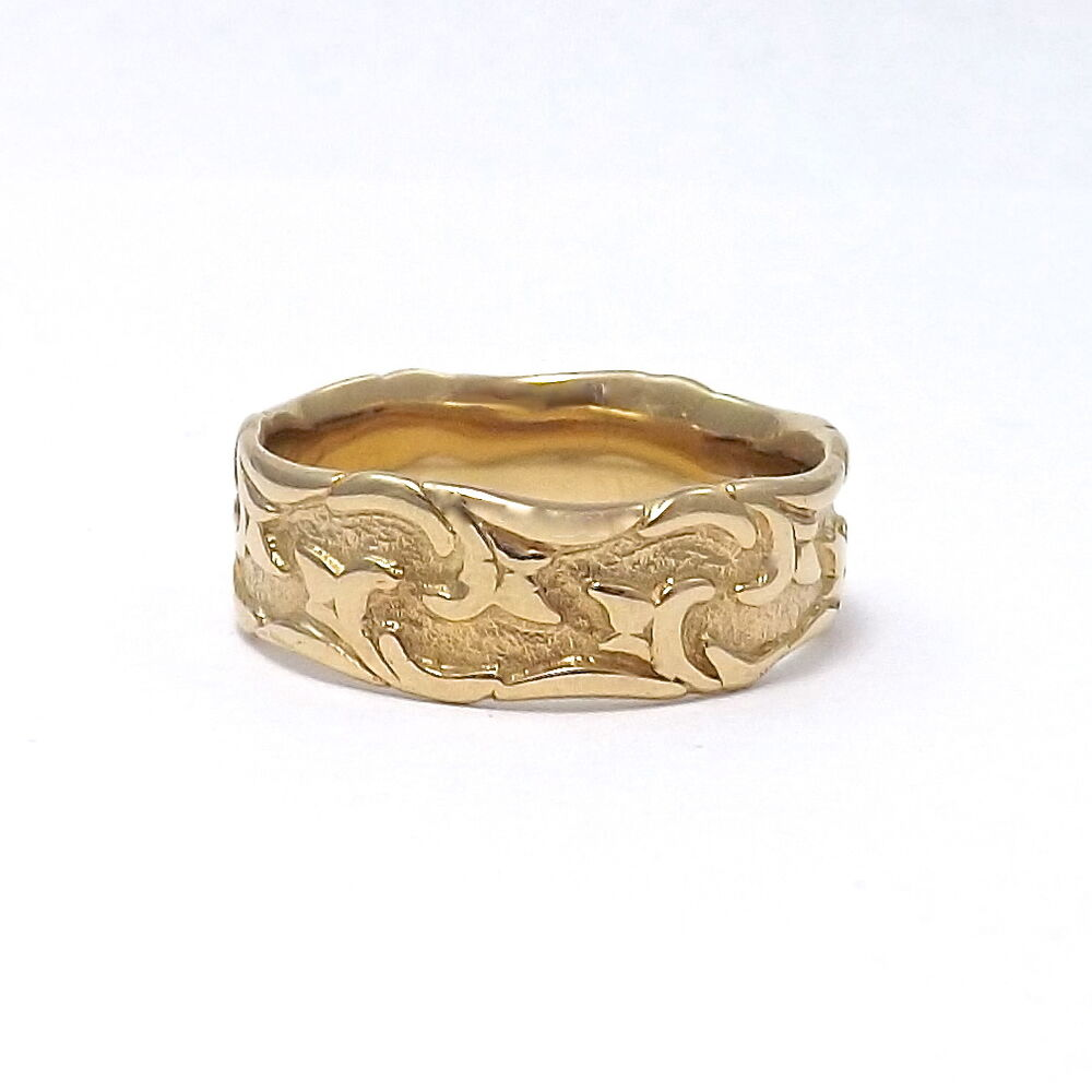 Art Carved 14k Gold Modernist Wedding Band Ring Sz 11 Ebay