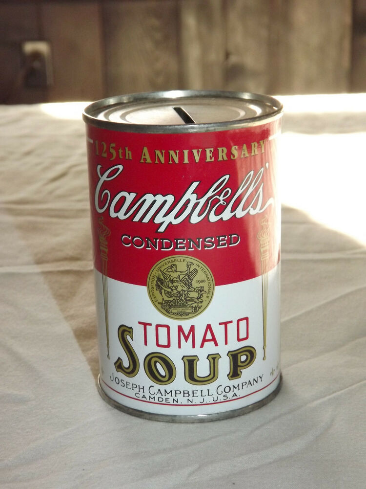 vintage campbell 39 s tomato soup 125th anniversary can tin bank ebay. Black Bedroom Furniture Sets. Home Design Ideas
