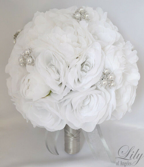 17pcs wedding bridal bouquet set silk flower decoration package white ebay. Black Bedroom Furniture Sets. Home Design Ideas