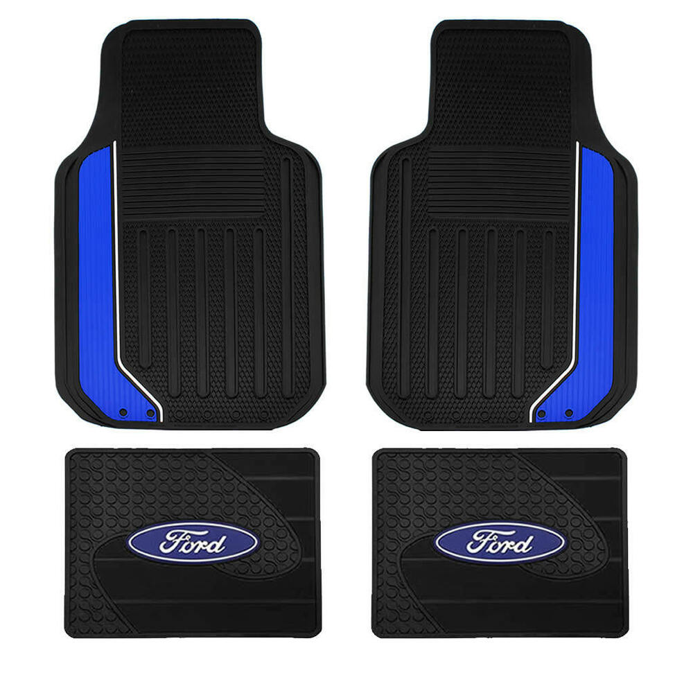 New Ford Factory Rear Mats & Elite Black Blue Front Rubber Floor Mats ...