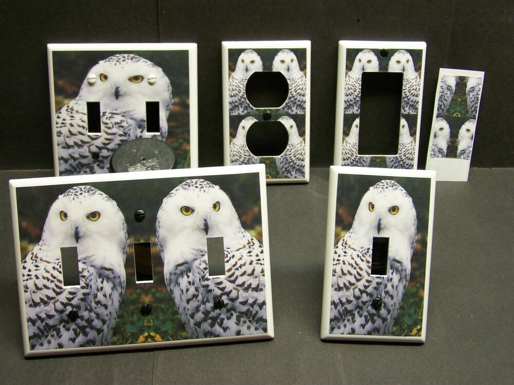Beautiful snow owl home decor light switch cover plate or for Owl decorations for the home