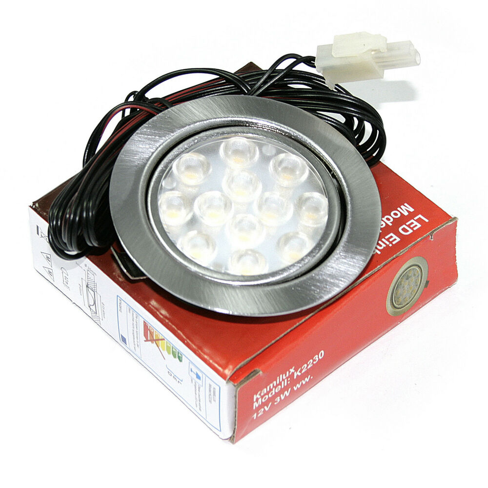1 10er sets flache led m bel einbaustrahler gabi 12v downlights 3w et 20mm ebay. Black Bedroom Furniture Sets. Home Design Ideas